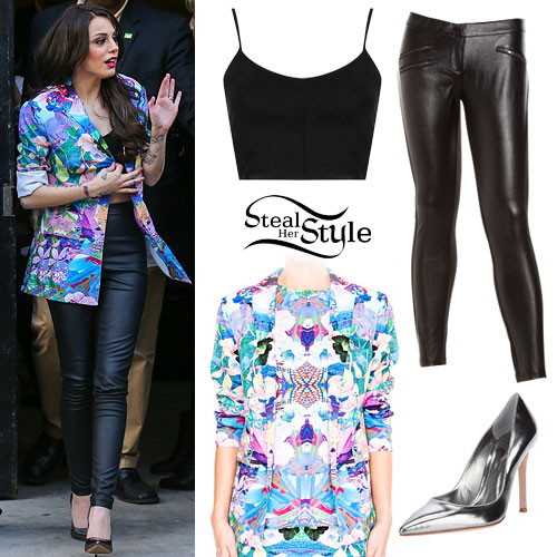 Cher Lloyd: Floral Blazer, Leather Pants