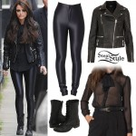 Cher Lloyd: Neck Tie Blouse, Disco Pants
