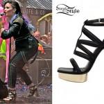 Demi Lovato: Cage Heel Strappy Sandals