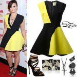 Demi Lovato: Black-Yellow Dress Outfit