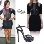 Demi Lovato: Mesh Panel Dress, Stitched Sandals
