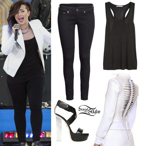 Demi Lovato: White Jacket, Black Sandals