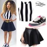 Ella Eyre: Stripe Crop Top, Leather Skirt
