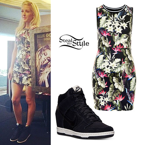 Ellie Goulding: Tropical Print Dress, Nike Wedges