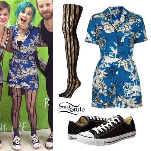 Hayley Williams: Blue Print Romper Outfit