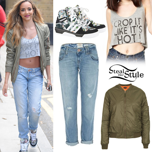 Jade Thirlwall: Khaki Bomber, Boyfriend Jeans | Steal Her Style
