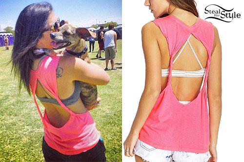 Jess Bowen: Pink Open Back Muscle Tee