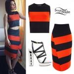 Jessie J: Red/Black Stripe Top & Skirt