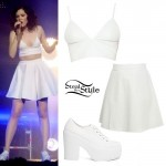 Jessie J: White Leather Bralet & Skater Skirt