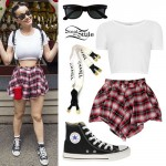 Katy Perry: Plaid Short, Chanel Suspenders