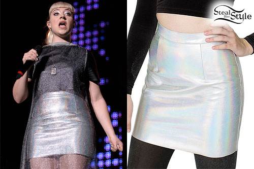 Leah McFall: Metallic Silver Leather Skirt