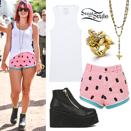 Lily Allen: Watermelon Shorts, Pill Shorts