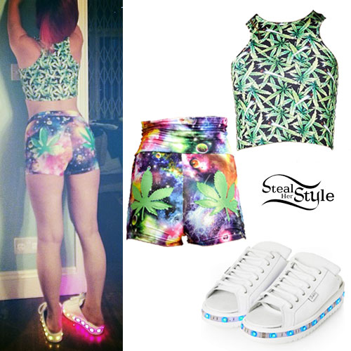 Lily Allen: Weed Crop Top, Galaxy Shorts, Light-Up Shoes