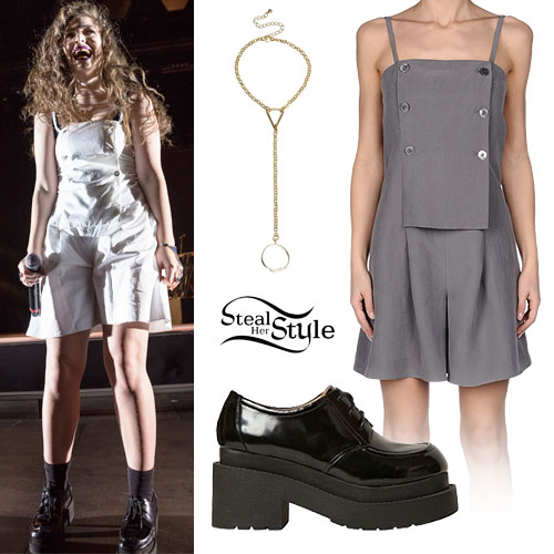 Lorde: White Button Playsuit, Black Oxfords