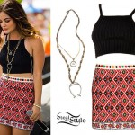 Lucy Hale: Rib Crop Top, Embroidered Skirt