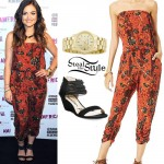 Lucy Hale: Printed Jumpsuit, Strappy Sandals