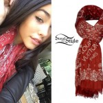 Madison Beer: Red Paisley Scarf