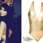 Melissa Marie Green: Gold Halter Bodysuit
