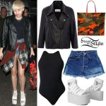 Miley Cyrus: Leather Jacket, Vintage Shorts