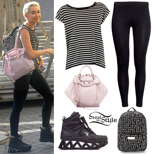 Miley Cyrus: Stripe Tee, Black Leggings