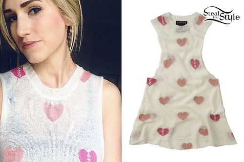 Mindy White: Heart Sleeveless Sweater