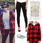 Mindy White: Hooded Flannel Shirt Outfit