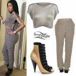 Nicki Minaj: Chainmail Top, Geo Print Pants