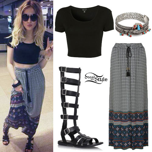 Perrie Edwards: Maxi Skirt, Gladiator Sandals