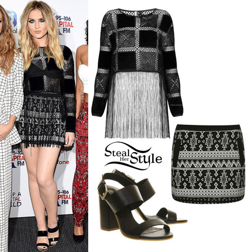 Perrie Edwards: Patchwork Top, Tribal Skirt