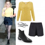 Perrie Edwards: Yellow Sweater, Satin Skort