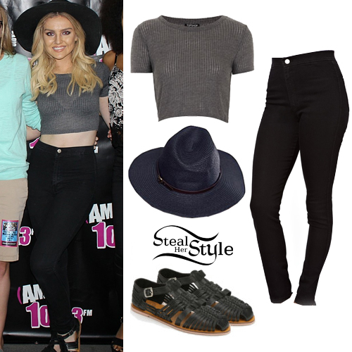Perrie Edwards: Ribbed Tee, Black Jeans | Steal Her Style