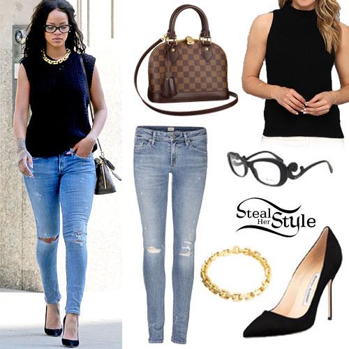 Rihanna: Rip Skinny Jeans, Black Suede Pumps