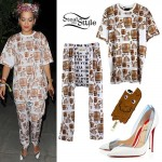 Rita Ora: Egyptian Print T-Shirt & Pants