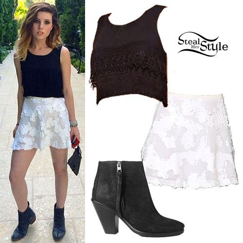 Sydney Sierota: White Sequin Skirt Outfit