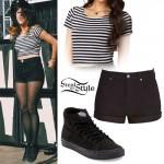 Tay Jardine: Striped Crop Top, Black Shorts