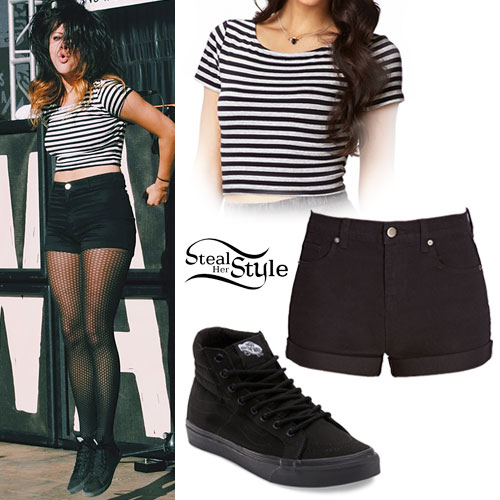Tay Jardine: Striped Crop Top, Black Shorts