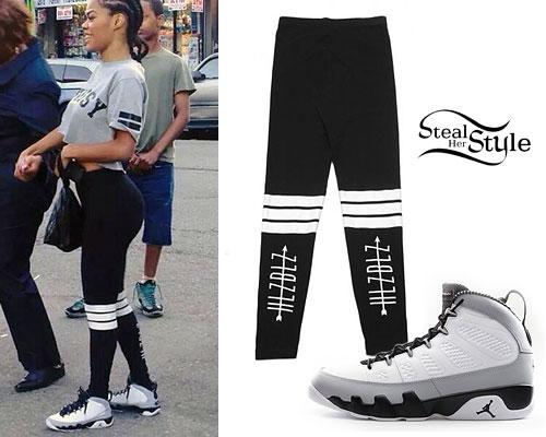 Teyana Taylor: Banded Leggings, Jordan 9's