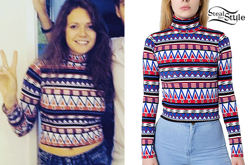Tove Lo: Printed Turtleneck Crop Top
