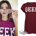 Victoria Justice: Burgundy 'GEEK' T-Shirt
