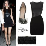 Victoria Justice: Leather Cutout Dress Outfit