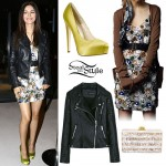 Victoria Justice: Beaded Floral Dress, Biker Jacket