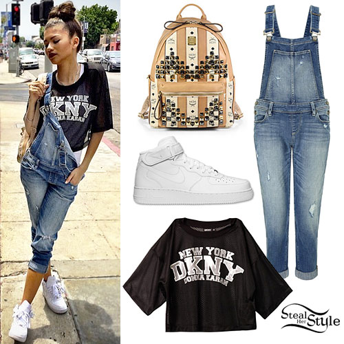 Zendaya: DKNY Athletic Top, Denim Overalls