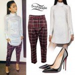 Zendaya Coleman: White Shirtdress, Plaid Pants
