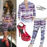 Zendaya: Stripe Print Blouse & Trousers