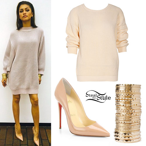 Zendaya Coleman: Sweater Dress, Nude Pumps