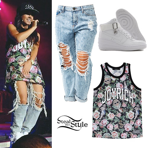 Becky G: Rose & Cherub Jersey, Cut-Out Jeans