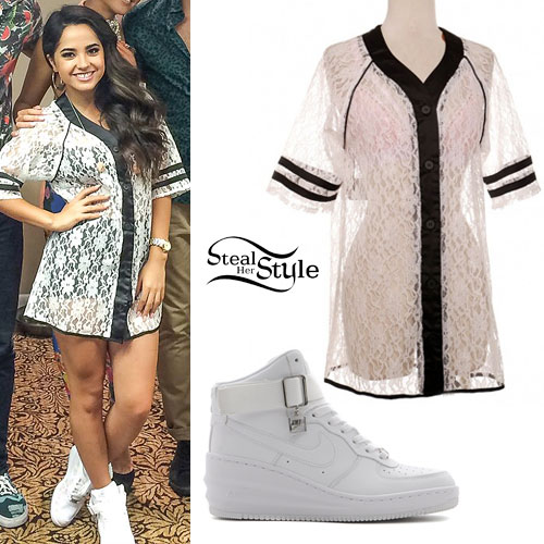 Becky G: Lace Baseball Jersey, White Sneakers