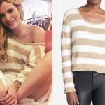 Bella Thorne: Gold & White Stripe Sweater