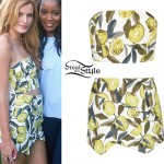 Bella Thorne: Lemon Print Top & Skirt