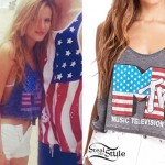 Bella Thorne: MTV Flag Crop Tank Top